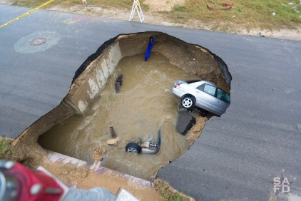This sink hole happened here.